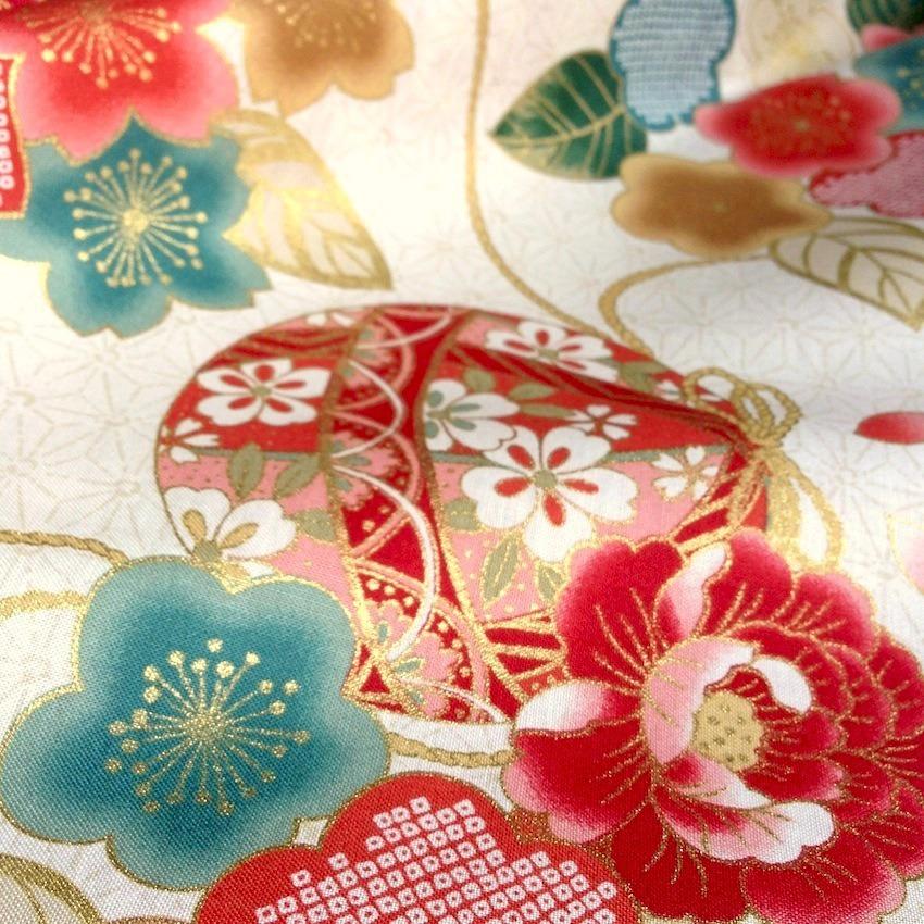 tissu japonais motif traditionnel de temari et de fleurs fond cru coton 110x50 004b nuno. Black Bedroom Furniture Sets. Home Design Ideas